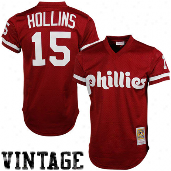 Mitchell & Ness Dave Hollins Philadelphia Phillies 1991 Authentic Throwback Mesh Batting Practice Jersey - Maroon