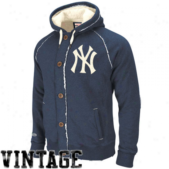 Mitchell & Ness New York Yankees Navy Blue Cooperstown Ground Ball Vintage Heathered Full Zip Hoodie Sweatshirt