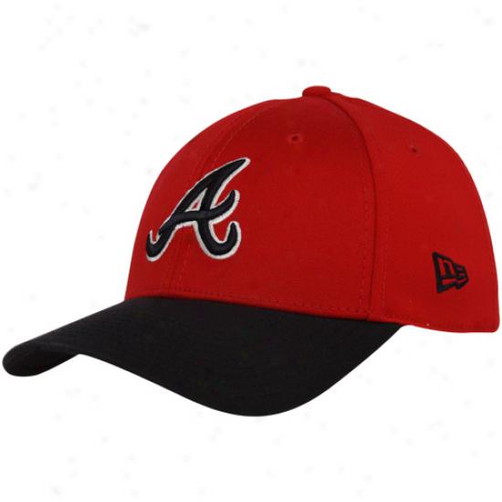 New Era Atlanta Braves Red-navy Blue Dyad 39thirty Stretch Fit Hat