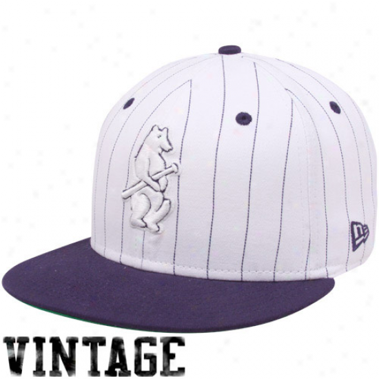 New Era Chicago Cubs White-navy Blue Pinstripe 9fifty Snapback Adjustable Hat