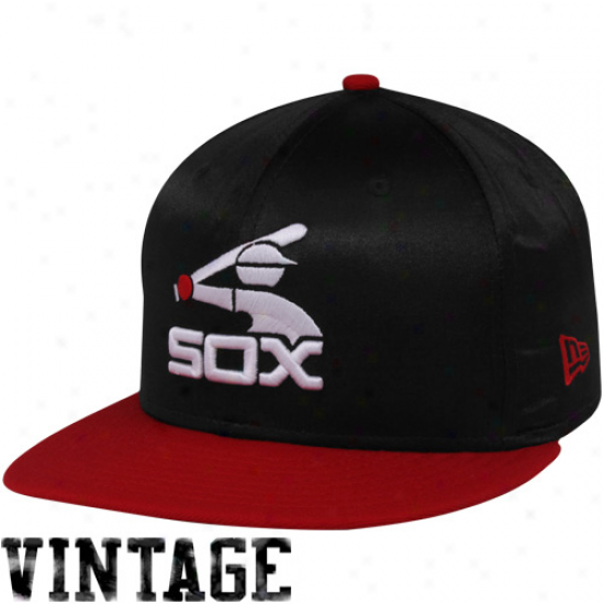 New Era Chicago White Sox Black-red Satron Quick Turn Snapback Adjustable Hat