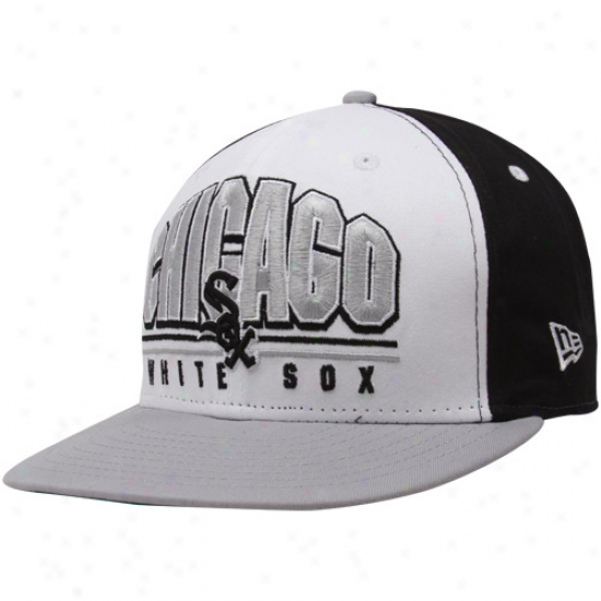 New Era Chicago White Sox Black-white-silver Monolith 9fifty Snapback Adjustable Hat