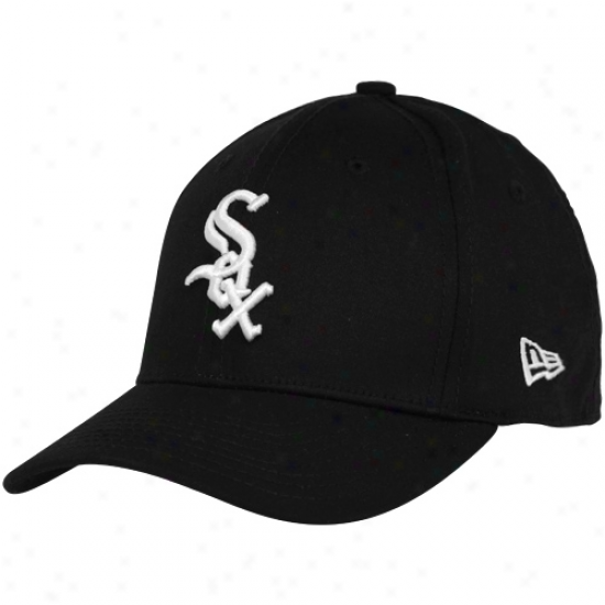 New Era Chicago White Sox Youth Black Tie Breaker 39thirty Stretch Fit Hat