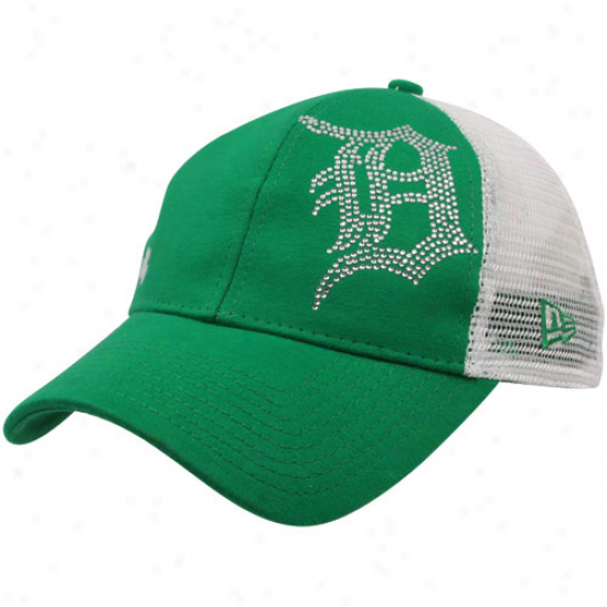 New Era Detroit Tigers Ladies Kelly Green Jersey Shimmer Mesh Back Adjustable Hat