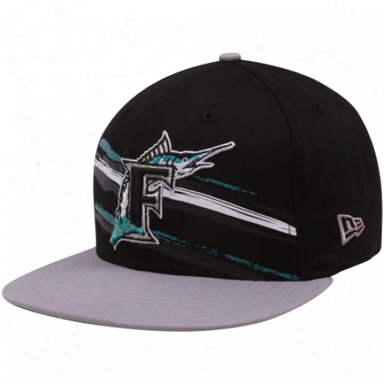 New Era Florida Marlins Black Cooperstkwn Fantabulous 9fifty Snapback Adjuxtable Hat
