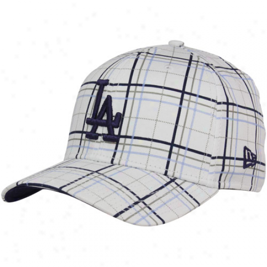 Unaccustomed Era L.a. Dodgers White Summer Plaid 39thirty Flex Fit Hat