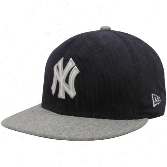 New Eta New York Yankees Navy Blue-gray Cord Mix Cioperstown 9fifty Snapback Adjustable Hat