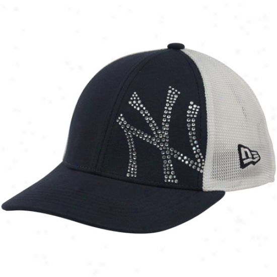 New Era New York Yankees Youth Girls Navy Blue-white Jersey Shimmer Mesh Back Adjustable Cardinal's office