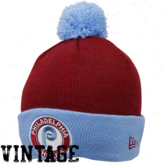 New Era Philadelphia Phillies Maroon-light Blue Circle Knit Beanie