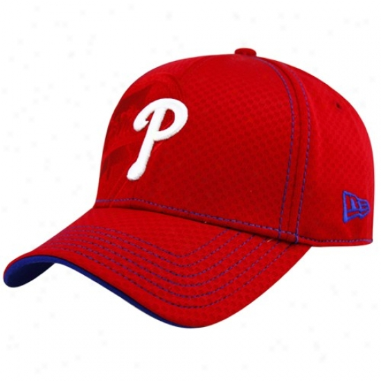New Era Philadelphia Phillies Red Acl 39thirty Flex Fit Hat