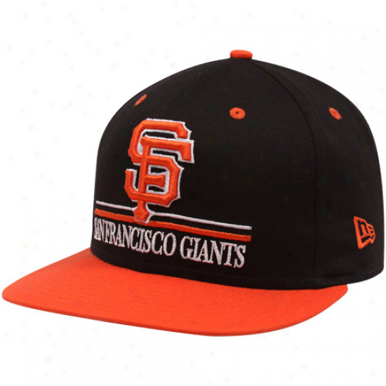 New Eea San Francisco Giants Black-orange Underline Snapback Adjustable Hat