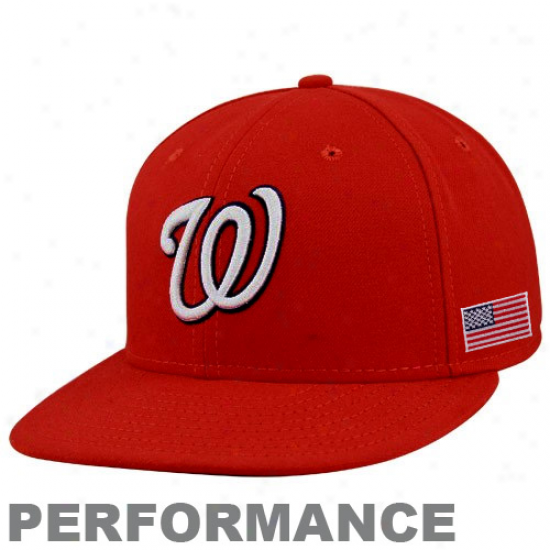 Starting a~ Era Washington Nationals Red On-field 59fifty Usa Flag Fitted Performance Hat