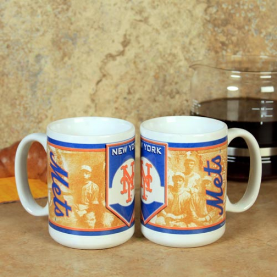 New York Mets 15oz. 2-pack Nostalgic Ceramic Mug Set