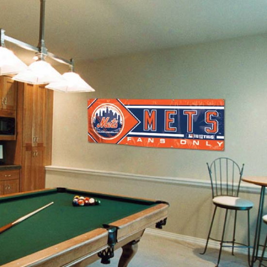New York Mets 2' X 6' Orange-navy Blue Fans Only Vinyl Flag