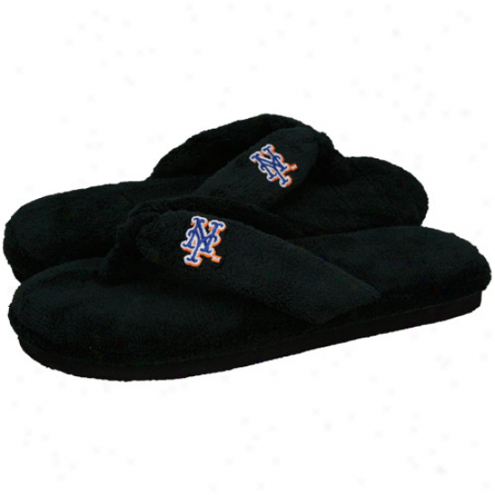 New York Mets Ladies Black Plush Thong Slippers