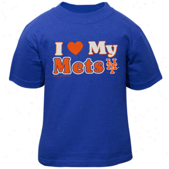 New York Mets Toddler I Heart My Team T-shirt - Royal Blue