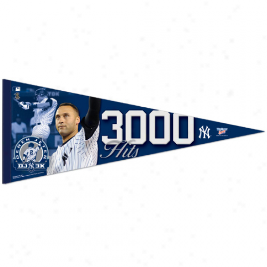 """new York Yankees #2 Derek Jeter 3000 Hits 12"""" X 30"""" Premium Pennant"""