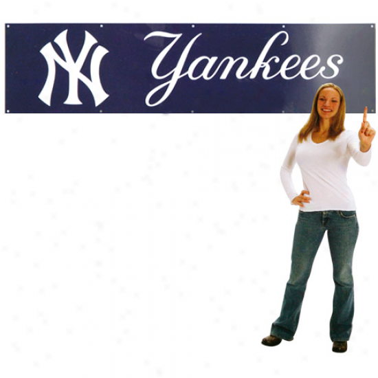 New York Yankees 8' X 2' Navy Blue Applique Banner