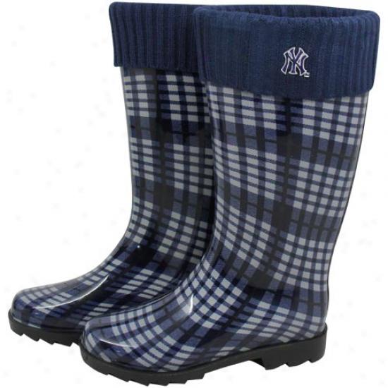 New York Yankees Ladies Navy Blue Plaiid Cuffed Rain Boots