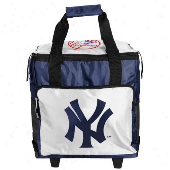 New York Yankees Navy Blue-white Rolling Collapsible Cooler