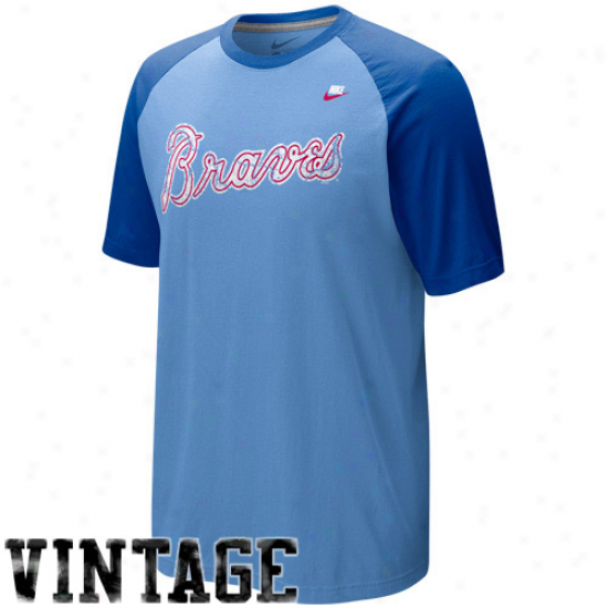 Nike Atlanta Braves Light Blue-royal Blue Cooperstown Quick Pick Vintage Baseball Jersey
