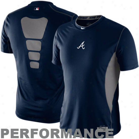 Nike Atlanta Bravrs Navy Blue Pro Combat Hypercool Performance Top