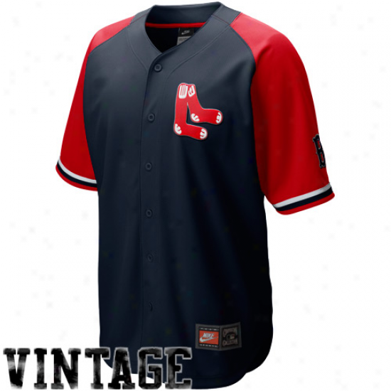Nike Boston Red Sox Navy Blue-red Cooperstown Quick Pick Baseball Jersey