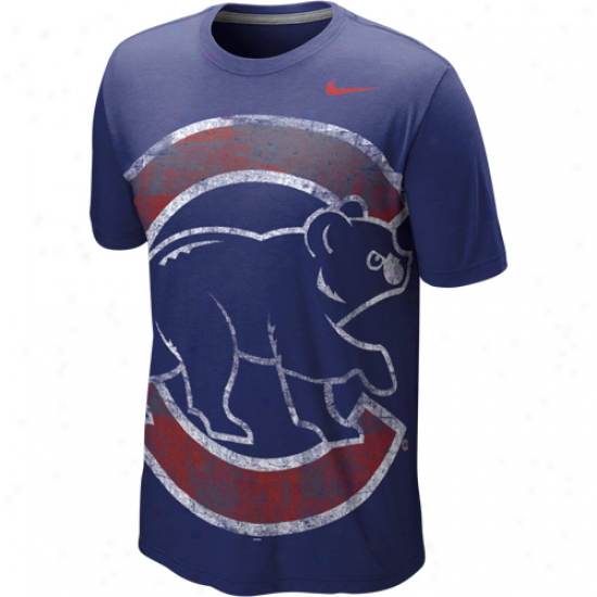 Nike Chicago Cubs Big Logo Tri-blend T-shirt - Royal Blue