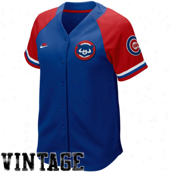 Nike Chicago Cubs Women's Royal Blue-red Cooperstown Rapid Pick Vintage Baseball Jersey