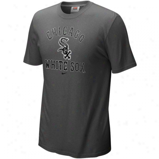 Nike Chicag0 White Sox Charcoal Slkdepiece Tri-blend T-whirt