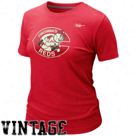 Nike Cincinnati Reds Ladies Cooperstown Blended Logo Tri-blend T-shirt - Red