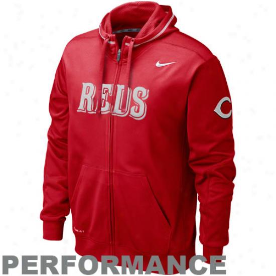 Nike Cincinnati Reds Red Ko Acting Full Zip Hoodie Sweatshirt