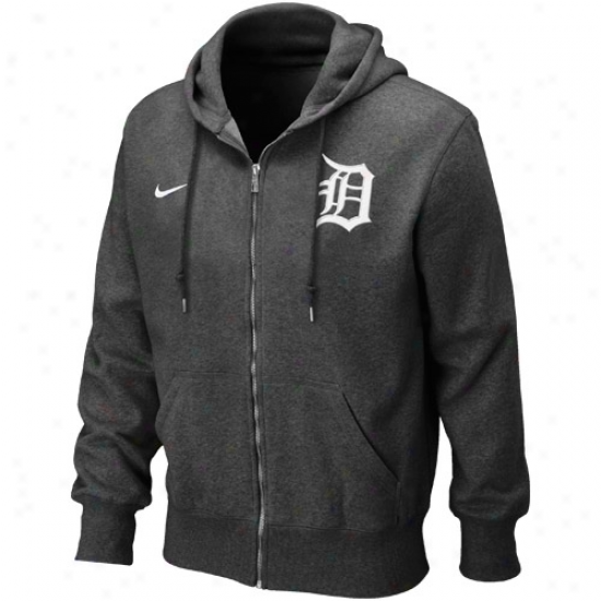 Nike Detroit TigersH eathered Black Seasonal Full Zip Hoodie Sweatshirt