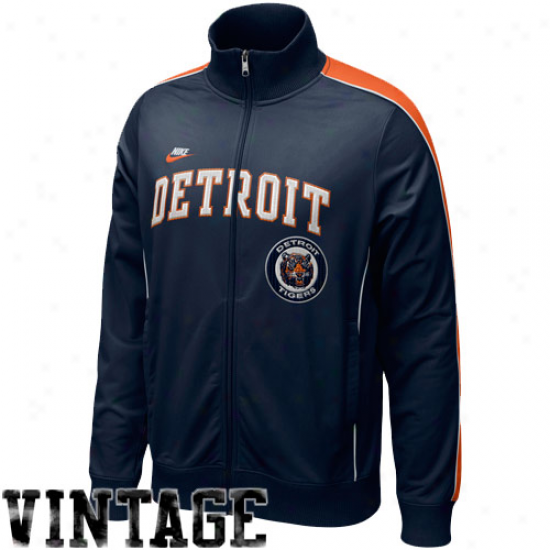 Nike Detroit Tigers Navy Melancholy Play At Third Cooperstown Full Zip Track Jacket