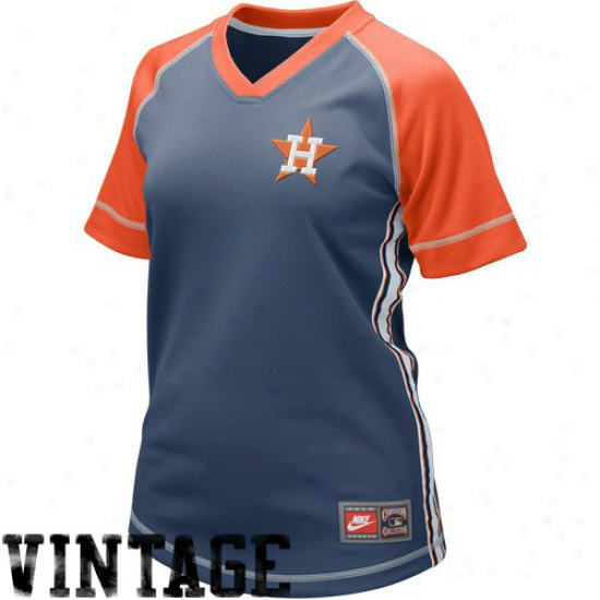 Nike Houston Astros Ladies Navy Blue Cooperstown Throwback Baseball Jersey