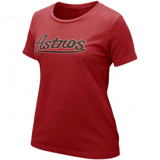 Nike Houston Astros Ladies Wordmark T-shirt - Brick Red