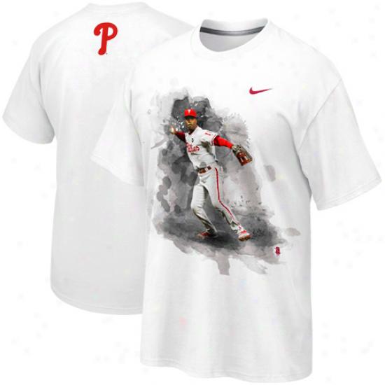 Nike Jimmy Rollins Philadelphia Phillies Player T-shirt - White