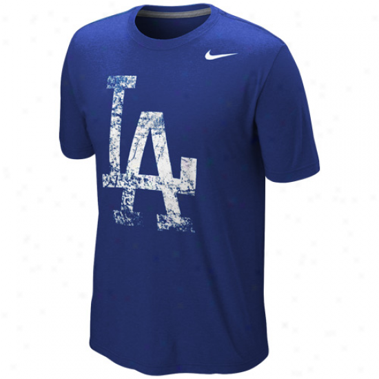 Nike L.a. Dodgers Blended Graphic Tr-iblend T-shirt - Royal Blue