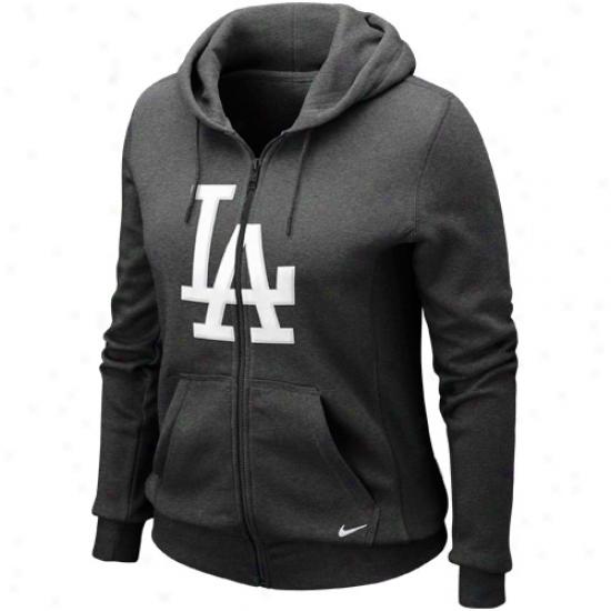 Nike L.a. Dodgers Ladies Charcoal Seasonal Shine Full Zip Hoodie Sweatshirt