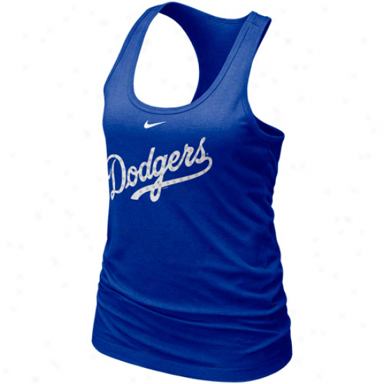 Nike L.a. Dodgers Ladies Royal Blue Mlb Bling Premium Racerback Tank Top