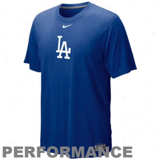 Nike L.a. Dodgers Royal Blje Twam Issue Legend Logo Performance T-shirt