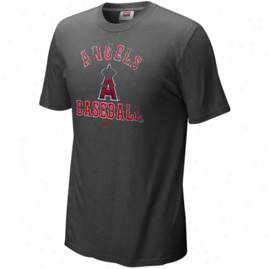 Nike Los Angeles Angels Of Anaheim Charcoal Slidepiece Tri-blend T-shirt