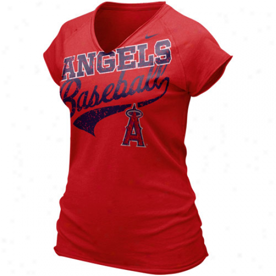 Nike Los Angeles Angels Of Anaheim Ladies Red Relay V-neck Tri-blend T-shirt