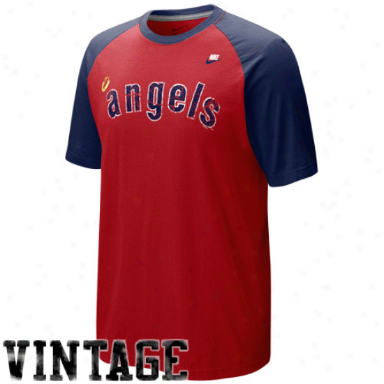 Nike Los Angeles Angels Of Anaheim Red-navy Blue Cooperstown Quick Pick Vintage Baseball Jersey