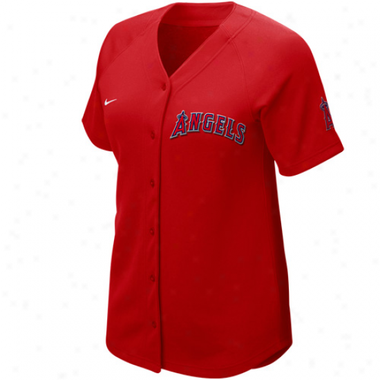 Nike Los Angeles Angels Of Anaheim Women's Red-navy Blue Cooperstown Quick Pick Vintage Baseball Jersey