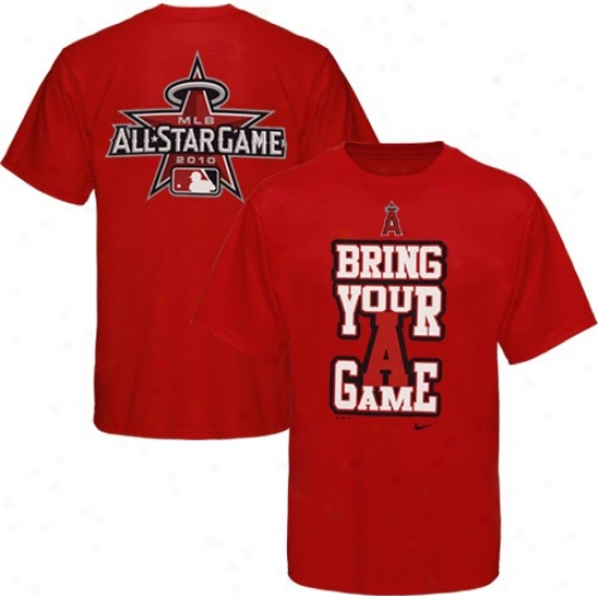 Nike Los Angeles Angels Of Anaheim Youth Red 2010 Mlb All-star Game Attitude T-shirt