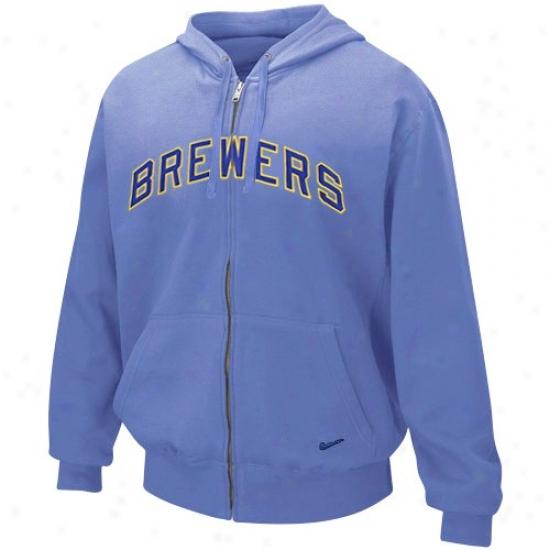 Nike Milwaukee Brewers Light Pedantic  Tackle Twill Full Zip Hoody Sweatshirt
