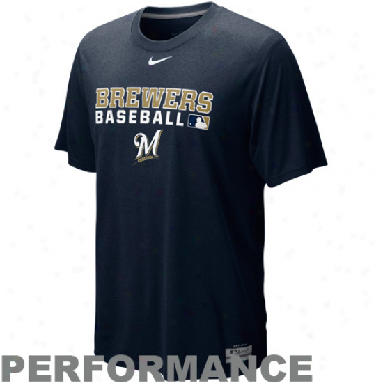 Nike Milwaukee Brewers Navy Blue Team Isdue Legend Performance T-shirt