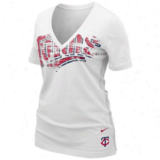 Nike Minnesota Twins Ladies White My Team V-neck T-shirt