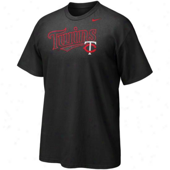 Nikke Minnesota Twins Seasonal Felt Heathered T-shirt - Black